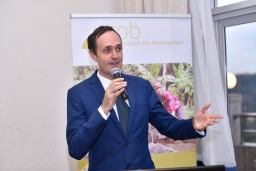 "Belgian Ambassador to Uganda Hugo Verbist adresses the room: ""The agricultural entrepreneurs of the future are the ones that are now in school. Skilling them through quality agricultural education and training is a challenge worth taking"""
