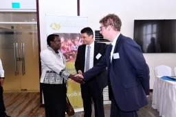 Dr Jane Egau-Okou, commissioner at the Ugandan Ministry of Education, is greeted by VVOB General Director Sven Rooms and VVOB Uganda Programme Manager Toon De Bruyn at the programme launch on 14 May