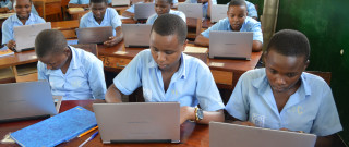 Laptops in a secondary classroom - Rwanda