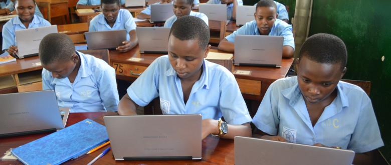 Laptops in a secondary classroom - Rwanda