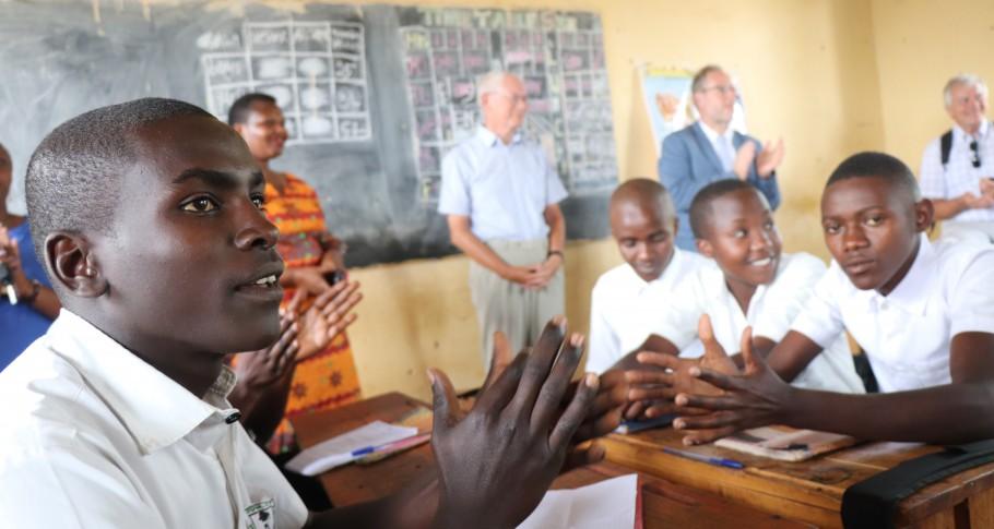 Van Rompuy bezoekt een secundaire klas